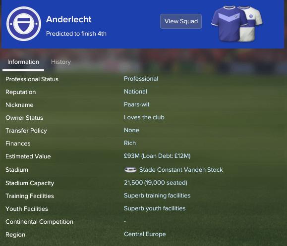 RSC Anderlecht - FM17 - Club info