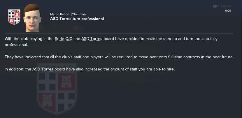 The ASD Torres chairman wants to go professional.